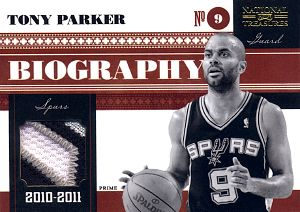 2010-11 Playoff National Treasures Biography Materials Prime #12 Tony Parker