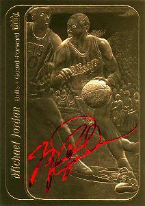 1994-00 Bleachers 23 Karat Gold #61 Michael Jordan/86/7 Fleer Stickers Red Sig