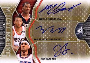 2009-10 SP Game Used Multi Marks Triple #MTBBS Josh Boone/75/Nicolas Batum/Marreese Speights