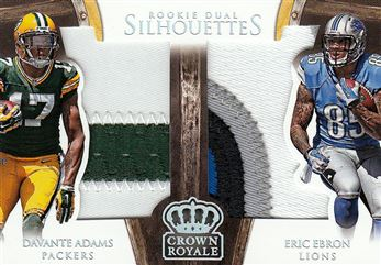 _Packers/Lions 2014 Crown Royale Dual Rookie Silhouettes Prime Davante Adams / Eric Ebron