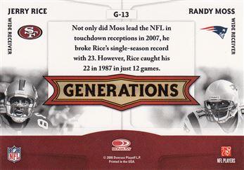 2008 Donruss Threads Generations 13 Randy Moss w/Jerry Rice