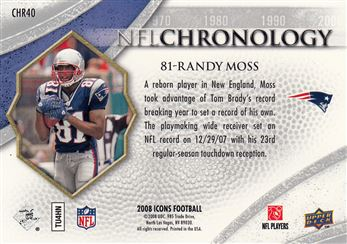 2008 Upper Deck Icons NFL Chronology Blue CHR40 Randy Moss