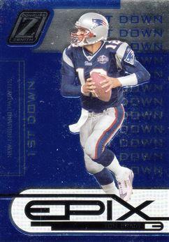 2005 Zenith Epix Blue 1st Down 24 Tom Brady