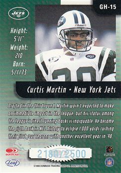 1999 Leaf Rookies & Stars Greatest Hits GH15 Curtis Martin