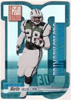 2001 Donruss Elite Primary Colors Die Cuts Blue PC4 Curtis Martin