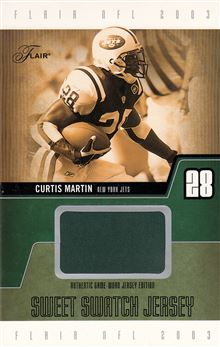 2003 Flair Sweet Swatch Jerseys Jumbo CM Curtis Martin  green