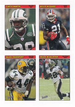 2005 Bazooka Stickers 20 Curtis Martin w/Deuce McAllister w/Najey Davenport w/Willis McGahee