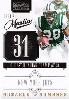 2010 Playoff National Treasures Notable Numbers 14 Curtis Martin