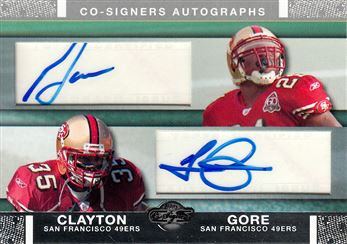 49ers 2007 Topps Co-Signers Co-Signer Autographs Frank Gore / Thomas Clayton