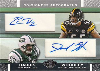 Jets 2007 Topps Co-Signers Co-Signer Autographs David Harris w/LaMarr Woodley