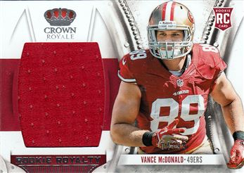 49ers 2013 Crown Royale Rookie Royalty Materials Vance McDonald