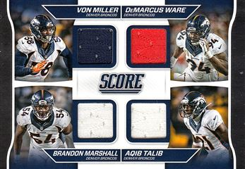 Broncos 2016 Score Quad Jerseys Von Miller - DeMarcus Ware / Brandon Marshall - Aqip Talib
