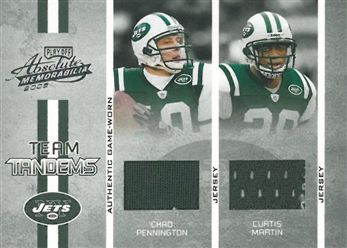 2005 Absolute Memorabilia Team Tandems Material 18 Curtis Martin w/Chad Pennington