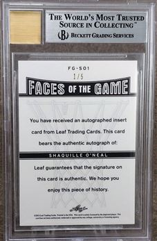 2012-13 Leaf Metal Faces of the Game Holo Red #FGSO1 Shaquille O'Neal 1/5