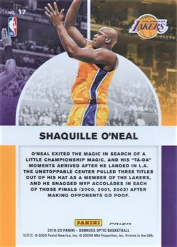 2019-20 Donruss Optic Winner Stays Purple #17 Shaquille O'Neal