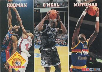 1993-94 Hoops #284 Dennis Rodman/Shaquille O'Neal/Dikembe Mutombo LL