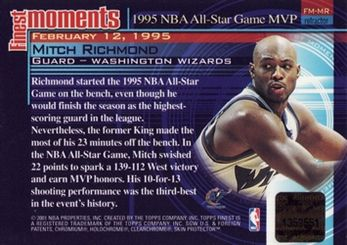 2000-01 Finest Moments Refractors Autographs #FMMR Mitch Richmond C