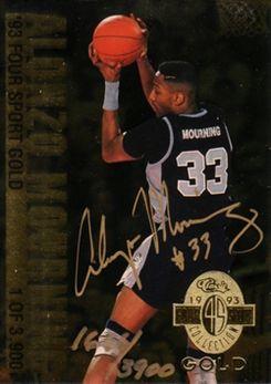 1993 Classic Four Sport Gold #AU3 Alonzo Mourning AU