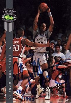 1993 Super Bowl Card Show Classic 4 Sports Autograph #NNO Alonzo Mourning