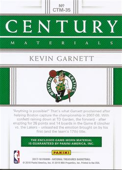 2017-18 Panini National Treasures Century Materials #35 Kevin Garnett/99