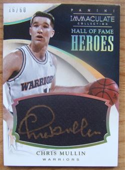 2013-14 Immaculate Collection HOF Heroes Signatures #28 Chris Mullin/60