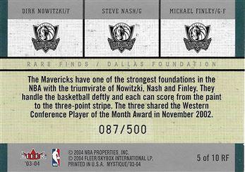 2003-04 Fleer Mystique Rare Finds #5 Dirk Nowitzki/Steve Nash/Michael Finley