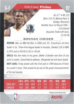 2004-05 Bowman Chrome #92 Michael Finley