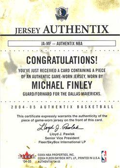 2004-05 Fleer Authentix Jerseys #17 Michael Finley