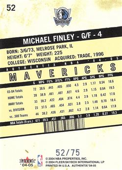2004-05 Fleer Authentix Parallel 75 #52 Michael Finley