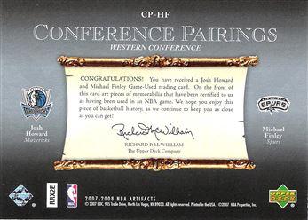 2007-08 Artifacts Conference Pairings #CPHF Josh Howard/Michael Finley