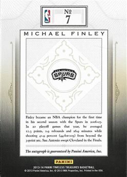2013-14 Timeless Treasures Treasured Ink #7 Michael Finley