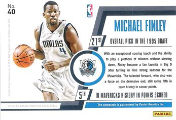 2014-15 Prestige Premium Bonus Shots Autographs #40 Michael Finley