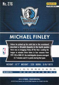 2015-16 Panini Prizm Prizms Light Blue #276 Michael Finley