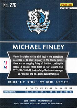 2015-16 Panini Prizm Prizms Red White Blue #276 Michael Finley
