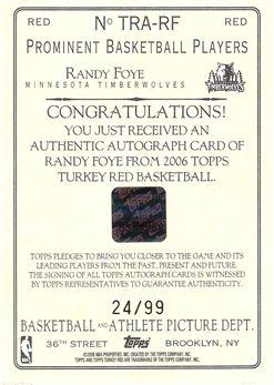 2006-07 Topps Turkey Red Autographs Red #RF Randy Foye