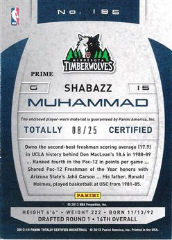 2013-14 Totally Certified Materials Blue Prime #195 Shabazz Muhammad