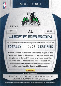 2013-14 Totally Certified Materials Gold Prime #161 Al Jefferson