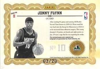 2010-11 Panini Gold Standard Gold Stars Materials Signatures Prime #5 Jonny Flynn
