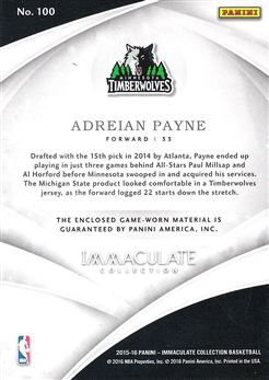 2015-16 Immaculate Collection Jumbo Patches Team Logos #100 Adreian Payne
