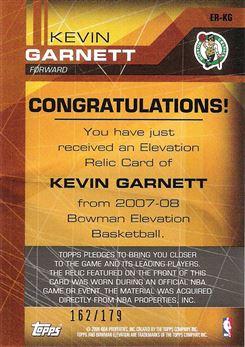 2007-08 Bowman Elevation Relics #KG Kevin Garnett