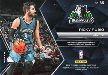 2016-17 Panini Spectra Spectacular Swatches Neon Green #36 Ricky Rubio