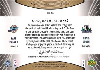 2006-07 Upper Deck Trilogy Generations Past and Future Memorabilia #PFMMS Karl Malone/Craig Smith