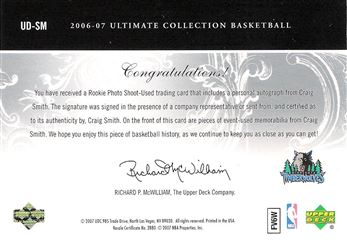 2006-07 Ultimate Collection Debut Jerseys Autographs #UDSM Craig Smith