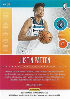 2017-18 Panini Status Rookie Credentials Blue #39 Justin Patton