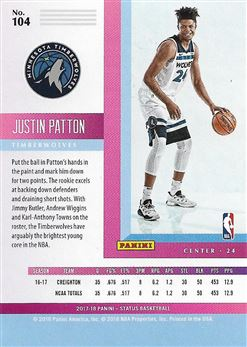 2017-18 Panini Status Red #104 Justin Patton
