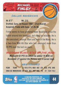 2003-04 Bazooka Parallel #44 Michael Finley