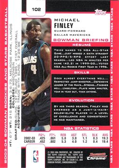 2003-04 Bowman Chrome #102 Michael Finley