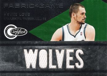 2010-11 Totally Certified Fabric of the Game Jumbo Team #43 Kevin Love