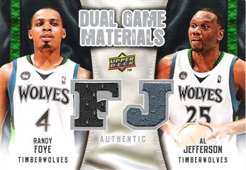 2009-10 Upper Deck Game Materials Dual #DGFJ Al Jefferson/Randy Foye