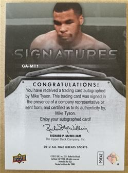 2012 Upper Deck All-Time Greats Signatures #GAMT1 Mike Tyson/15
